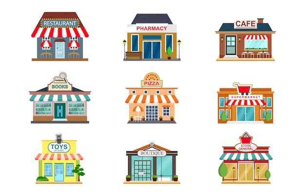 Store facade restaurant shop cafe front view flat icon