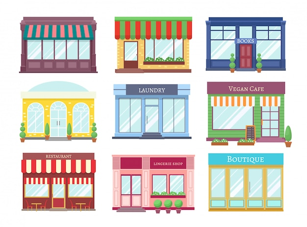 Store flat buildings. cartoon shop facade with showcase boutique retail building storefront restaurant houses.