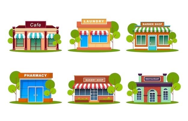 Store front collections flat illustration
