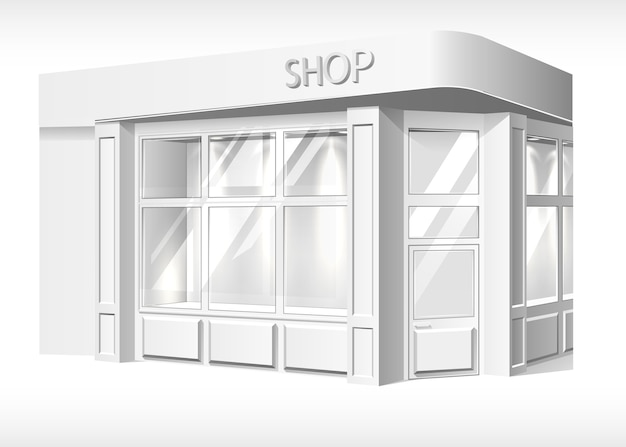 Store front exterior mockup. realistic stand booth, shop, boutique forepart template