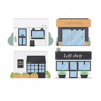 Store fronts set flat design 4 shop vector illustration background