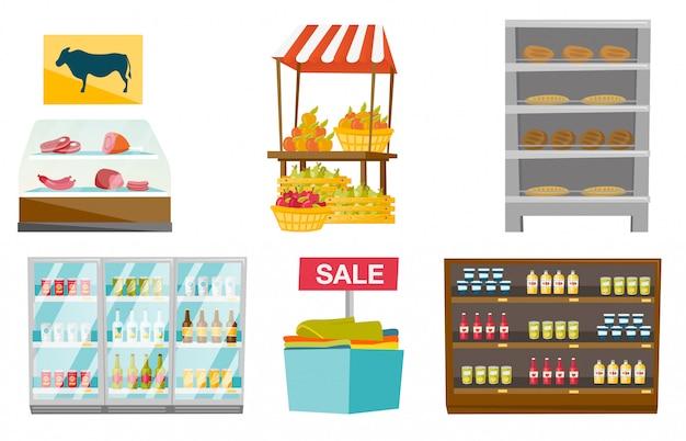 Store furniture cartoon set