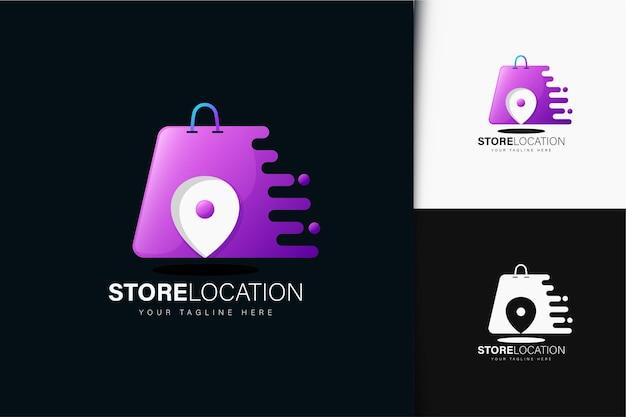 グラデーションのある店舗の場所のロゴデザイン