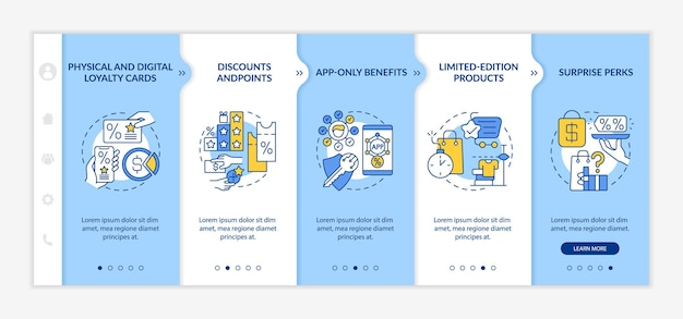 Store loyalty program ideas onboarding vector template. responsive mobile website with icons. web page walkthrough 5 step screens. loyalty card color concept with linear illustrations