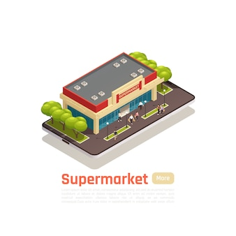 Store mall shopping center isometric banner with supermarket building and button more vector illustration