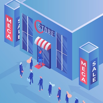 Store mega sale isometric illustration