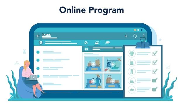 マーチャンダイザーのオンラインサービスまたはプラットフォームを保存します。ショップとショーケースのデザイナー。