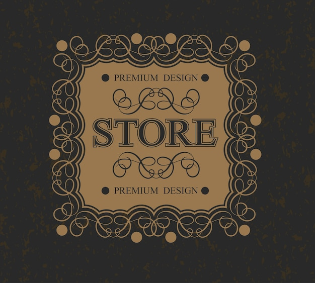 Store monogram luxurious calligraphic design border,