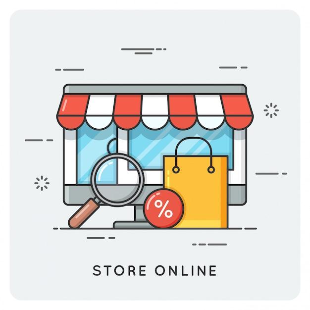 Store online. flat line art style concept.