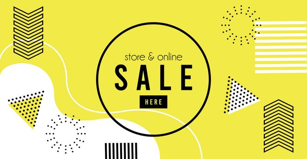 Store online sale lettering in yellow memphis background