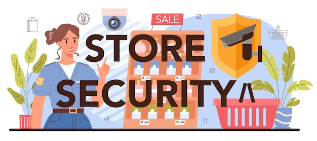 Store security typographic header. warehouse protection service. entrepreneur stocktaking goods on showcases. commercial activities. retailing process idea. flat vector illustration