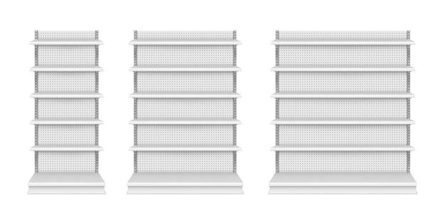 Полки магазинов и витрина для демонстрации продуктов, векторные изолированные реалистичные макеты. 3d изолированные модели