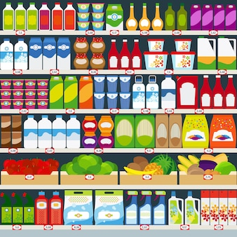 Store shelves with dairy products, fruits and household chemicals. vector illustration