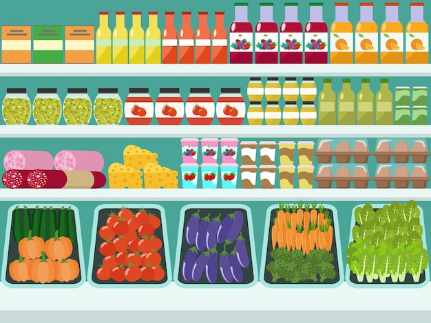 Store shelves with groceries, food and drinks. flat