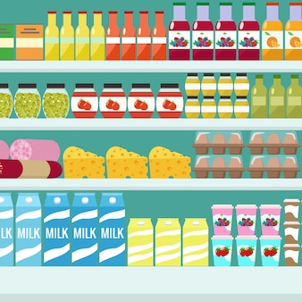 Store shelves with groceries food and drinks flat