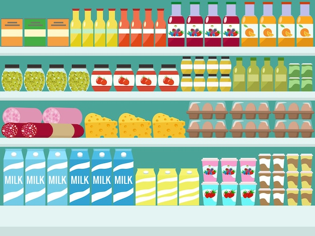 Store shelves with groceries, food and drinks.