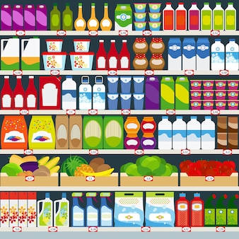 Store shelves with groceries