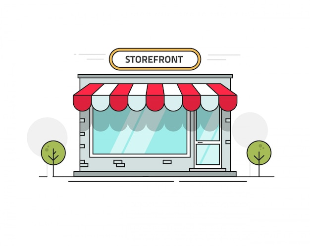 Store or shop front view vector illustration line outline style