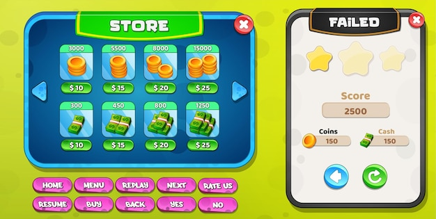 Store or shop and level failed with buttons coins and cash