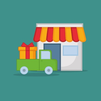 Store and truck with gift box