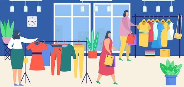 服、ベクトルイラストと一緒に保管してください。フラットな女性キャラクターの女性ファッションショップセール、ブティックインテリアデザインの小売衣料品。顧客はハンガーの近くに立ち、ドレス、tシャツ、ズボンを購入します。