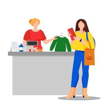 Магазин с покупателем, покупающим джемпер и кассиром иллюстрация концепции покупок женщина платит наличными