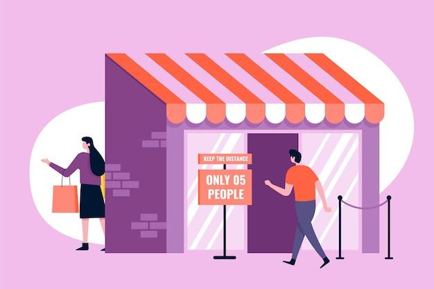 Магазин с ограниченным количеством людей