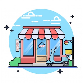 Store with motorcycle illustration