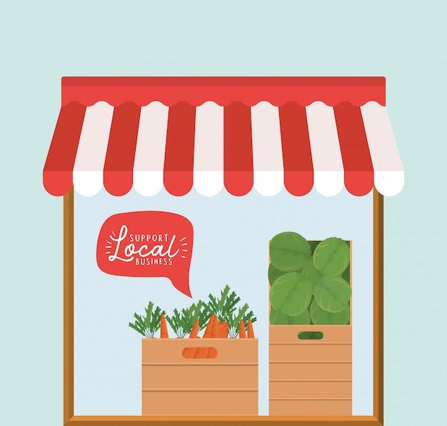箱の中に野菜を入れて保存し、バブルの中で地元のビジネスをサポートする
