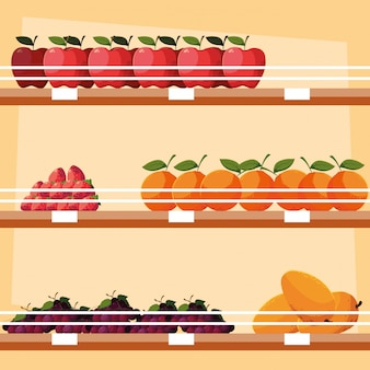 Store wooden shelving with fresh fruits
