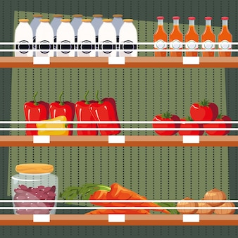 Store wooden shelving with vegetables and bottled juices