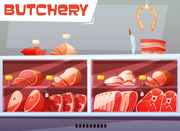 Storefront of butchery shop