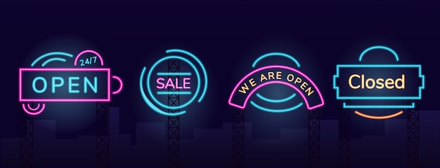 Storefront vector neon light board sign illustrations set. night shopping commercial signboard designs pack with outer glow effect. working hours and clearance sales fluorescent advertising banners