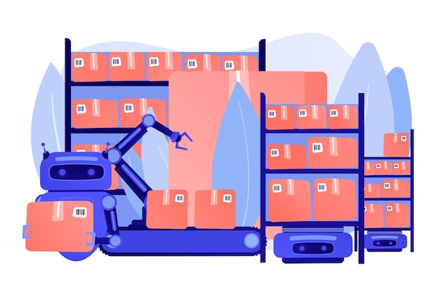 Storehouse automatic packages loading technology. warehousing robotization, warehouse robotics engineering, self-driving forklifts concept. pinkish coral bluevector isolated illustration
