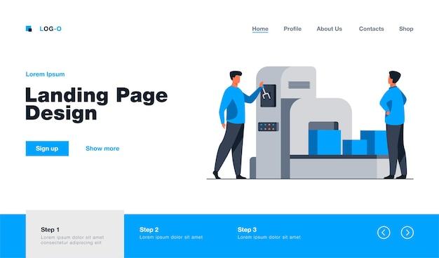 Storehouse employee operating conveyor machine landing page template