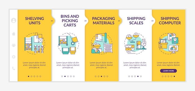 Storehouse onboarding  template. shipping computer. bins and picking carts. shipping scales. responsive mobile website with icons. webpage walkthrough step screens. rgb color concept