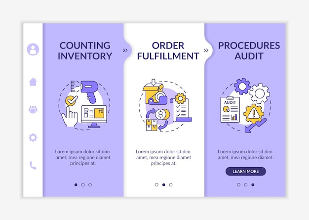 Storehouse procedures audit onboarding  template. warehouse management. order fulfillment. responsive mobile website with icons. webpage walkthrough step screens. rgb color concept