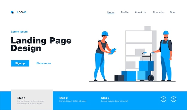 Storehouse workers keeping records of boxes landing page template
