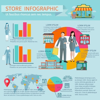 Stores buildings  and shopping infographic set with figures percentage and diagrams