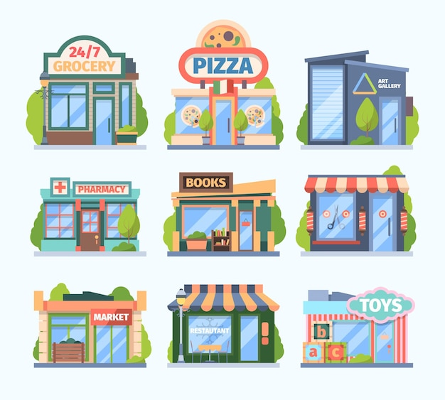 Stores and market set. facade colored shops pharmacies retail outlets book galleries toy store food medicine sales city boutiques with showcases awnings modern small buildings.