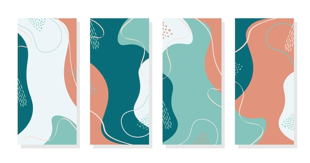 Stories background colorful memphis blue trendy background vector