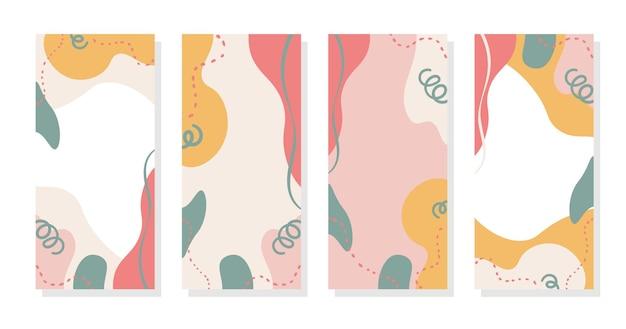 Stories background pop colorful memphis pastel trendy vector