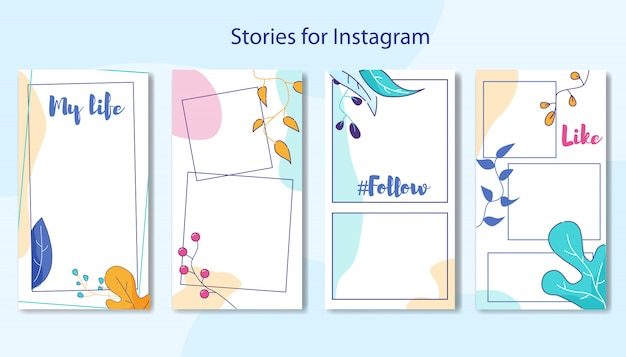Stories for instagram set in floral design frame