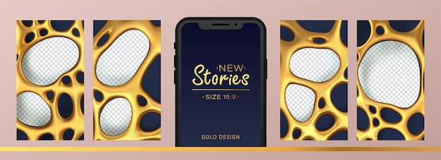 Stories kit for social media with abstract gold mesh with holes for photos