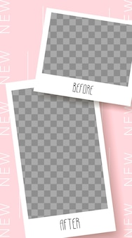 Stories template. before and after. streaming. photo frame isolated on transparent