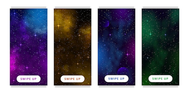 Stories template. set of space background with cartoon fantasy planets. mobile