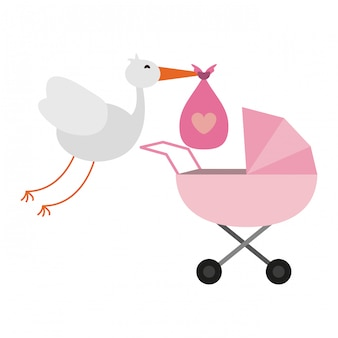 Stork and bag with pram