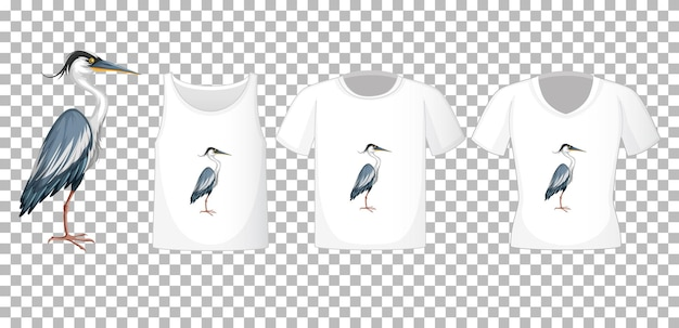 Stork bird in stand position cartoon character with many types of shirts on transparent