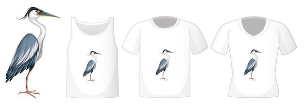 Stork bird in stand position cartoon character with many types of shirts on white
