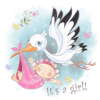 Stork flies with baby girl card